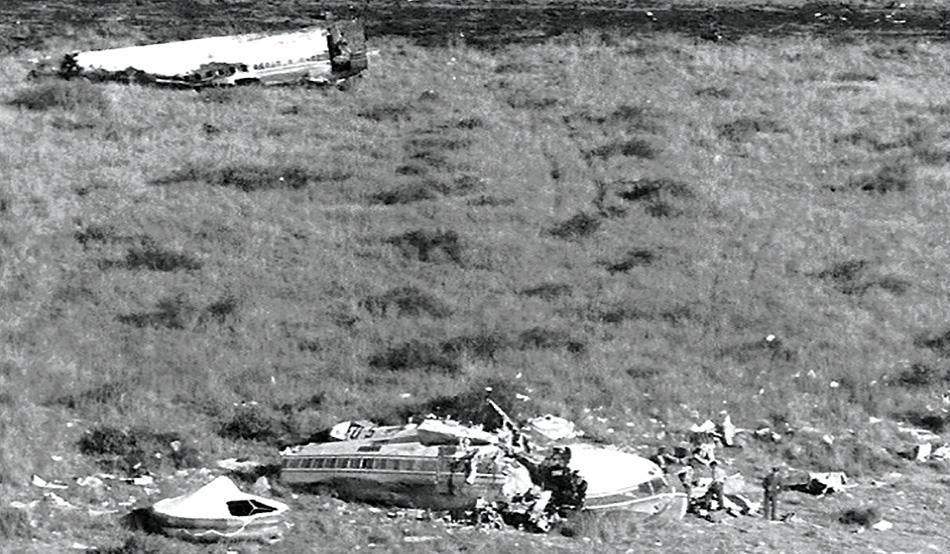 Wreckage of the crashed Boeing 707-344C in the bush savannah east of the airport at Ondekaremba near Windhoek